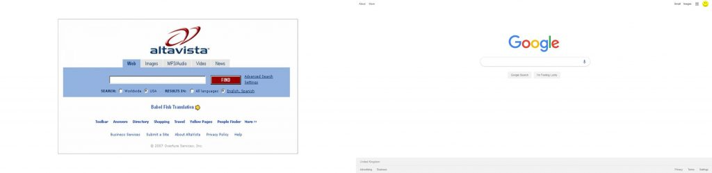 Comparación entre motores de búsqueda AltaVista y Google